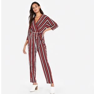 NWT Express Red Striped Long Sleeve Jumpsuit